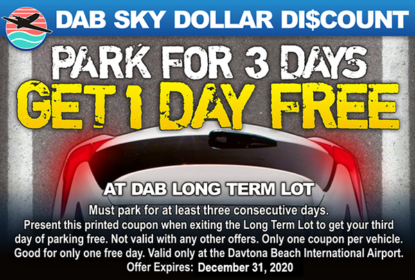 Parking Coupon - park for three days and get one day free. Expires December 31, 2019. Terms and conditions may apply.